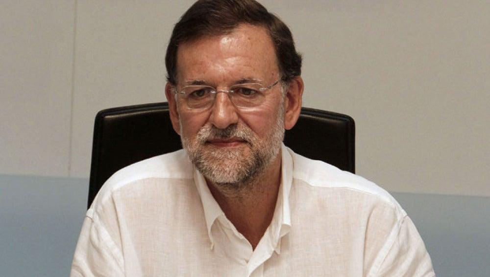 Mariano Rajoy en la sede de Génova