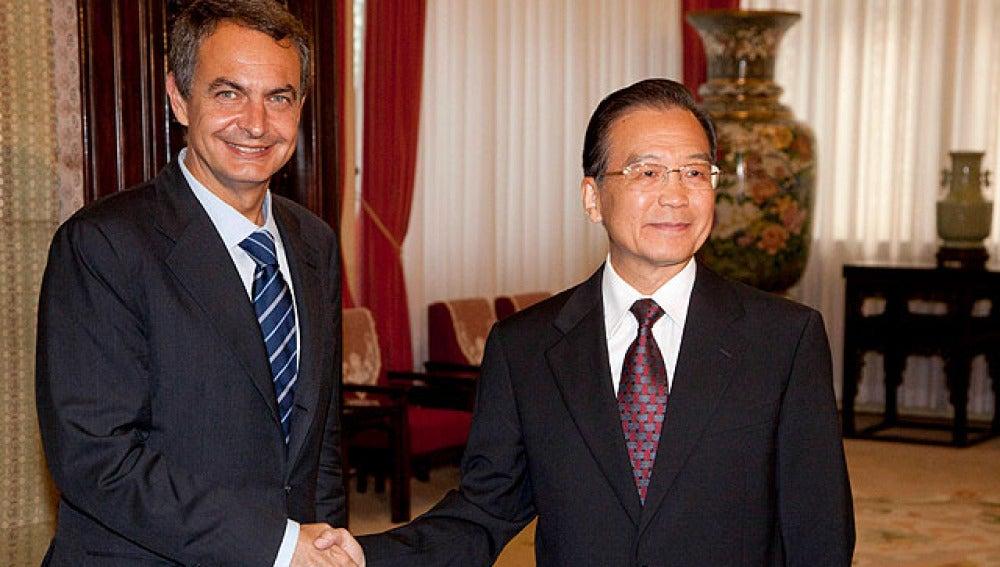 Zapatero con el primer ministro chino