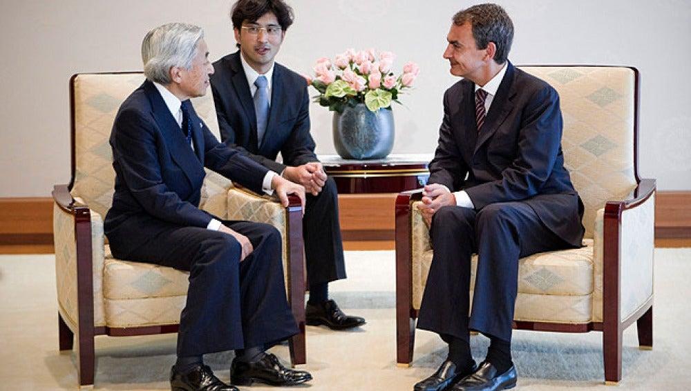 El presidente con el emperador Akihito
