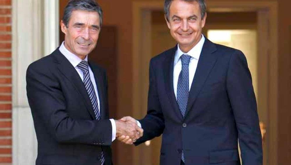 Zapatero y Rasmussen en Moncloa