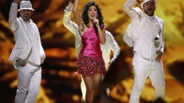 Lucía Pérez durante su actuación en Eurovisión