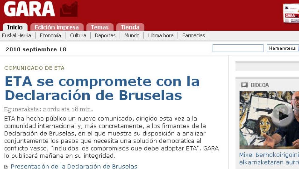 ETA se compromete con Bruselas