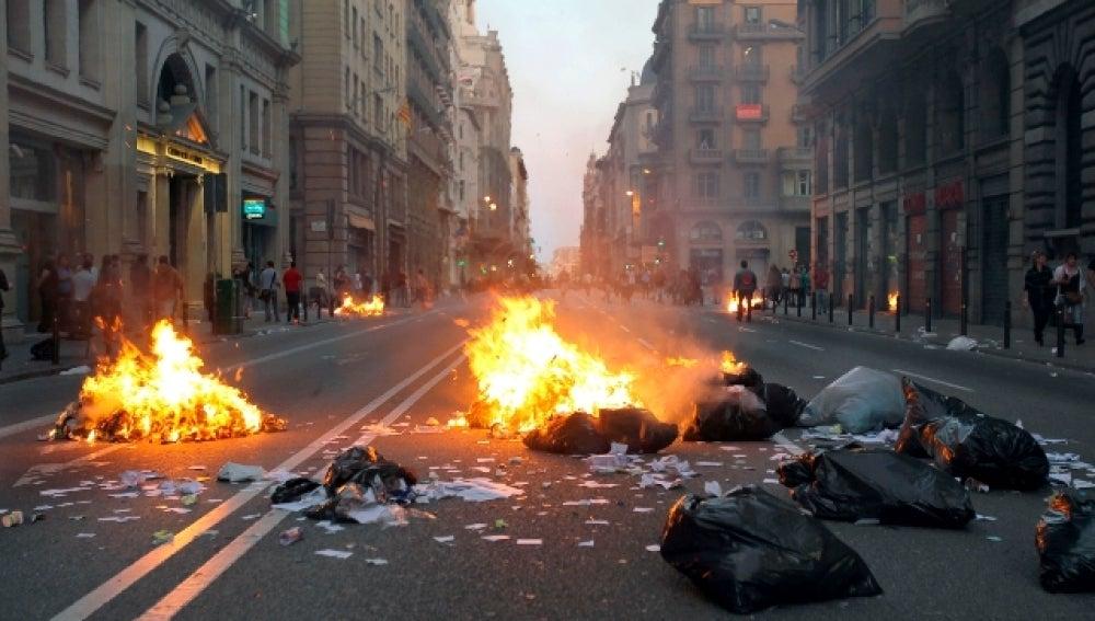 Incidentes en la Via Laietana el día de la huelga