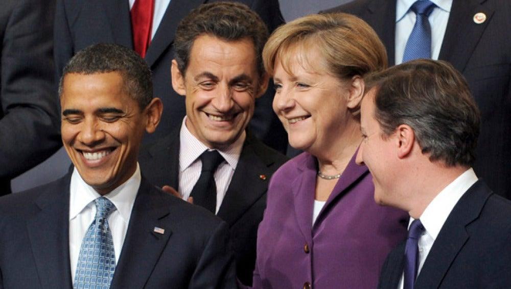 Obama, Sarkozy, Merkel y Cameron en la cumbre de la OTAN