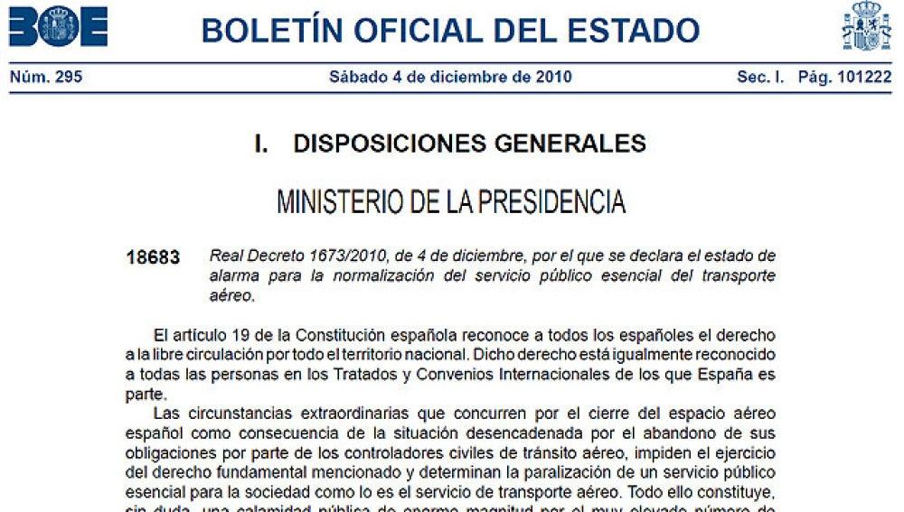 El BOE publica el decreto del Estado de Alarma