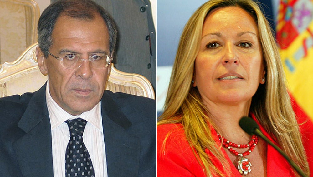 Serguei Lavrov y Trinidad Jiménez ministros de Exteriores de Rusia y de España