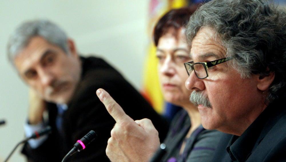 Los diputados de ERC Joan Tardà; BNG, Olaia Fernández, e IU, Gaspar Llamazares