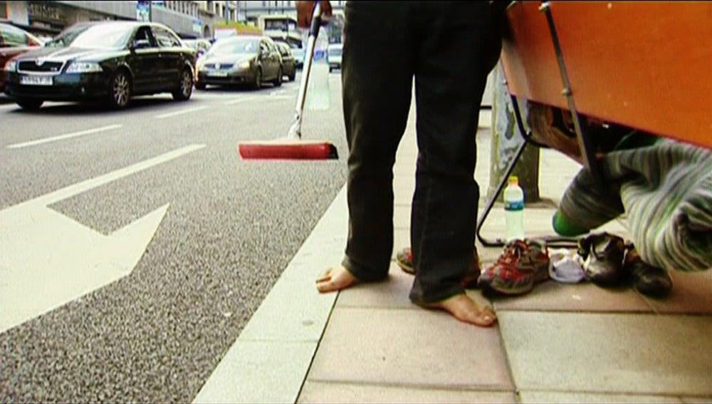 Mendigo en una calle
