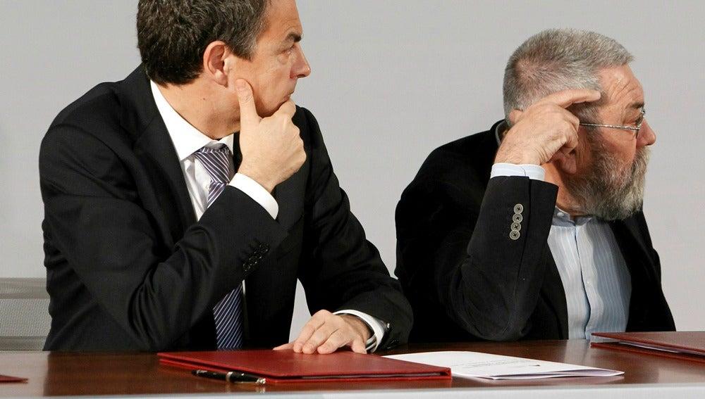 José Luis Rodríguez Zapatero junto a Cándido Méndez
