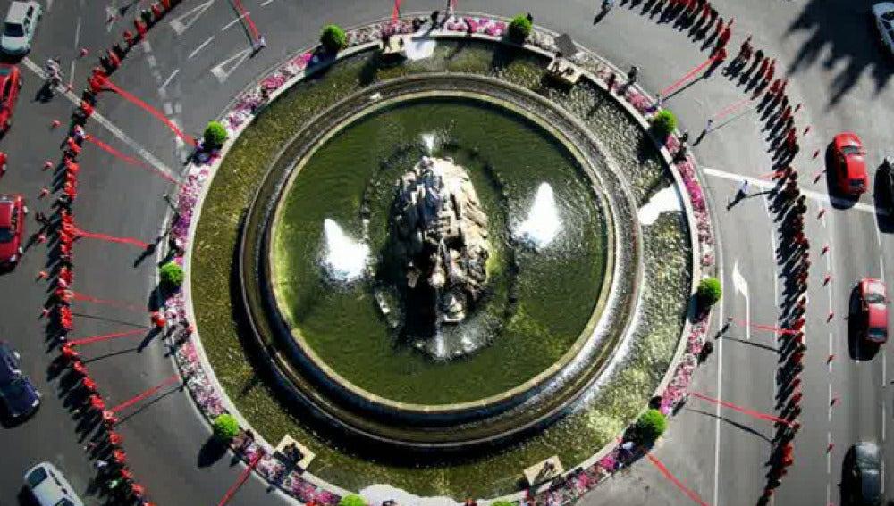 Fotografía aérea de la Cibeles en Madrid