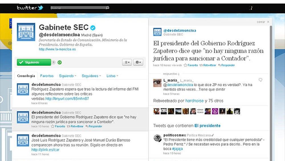 El twitter de Moncloa