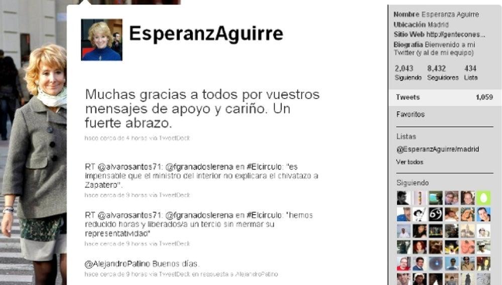 Esperanza Aguirre agradece las muestras de apoyo