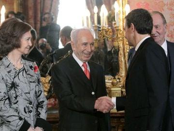 Simon Peres, con el Rey y Zapatero