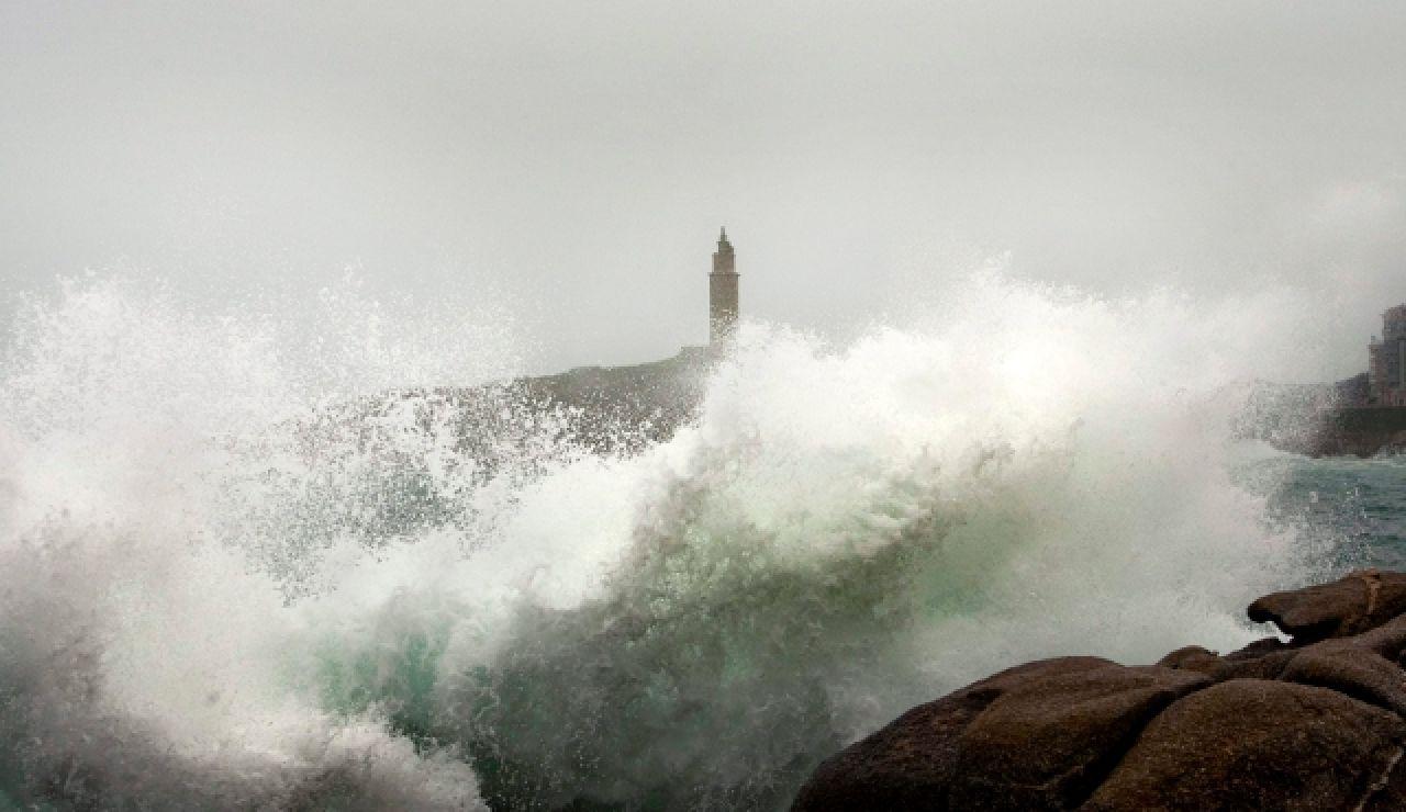 Fuertes olas en La Coruña