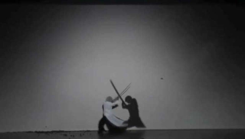 Espectáculo teatral japonés de sombras