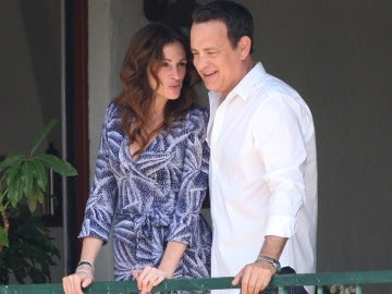 Julia Roberts y Tom Hanks en el rodaje de 'Larry Crowne'