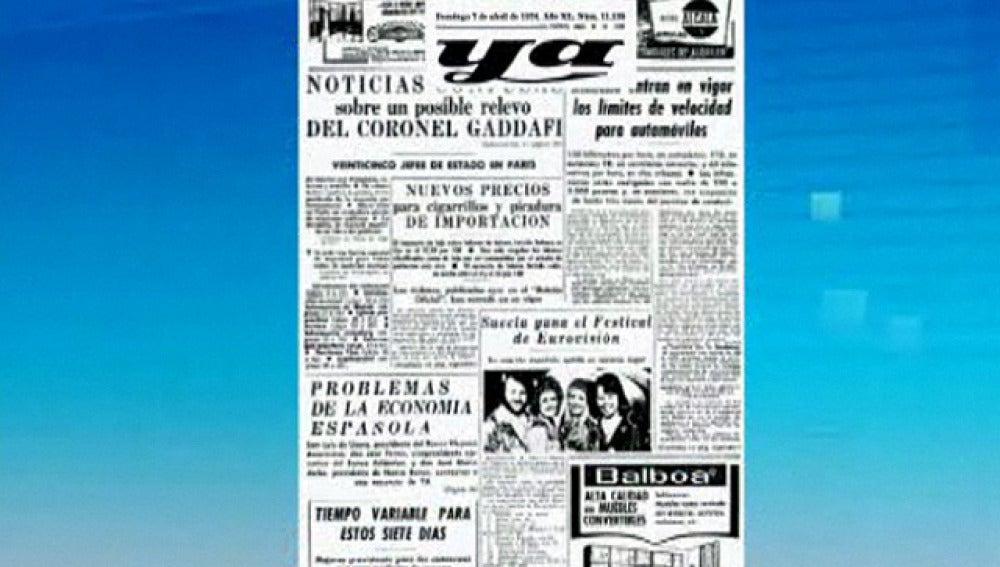 El periódico 'Ya' del 7 de abril de 1974