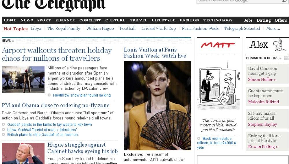 Portada de la edición digital de 'The Telegraph'
