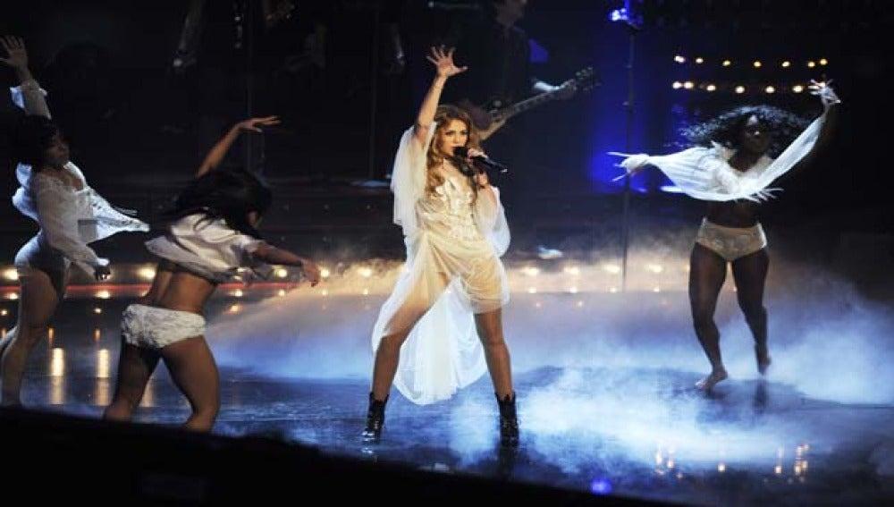 Miley Cyrus durante un concierto.