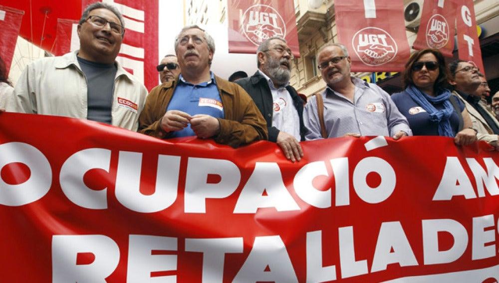 Los líderes sindicales en la manifestación del 1 de Mayo