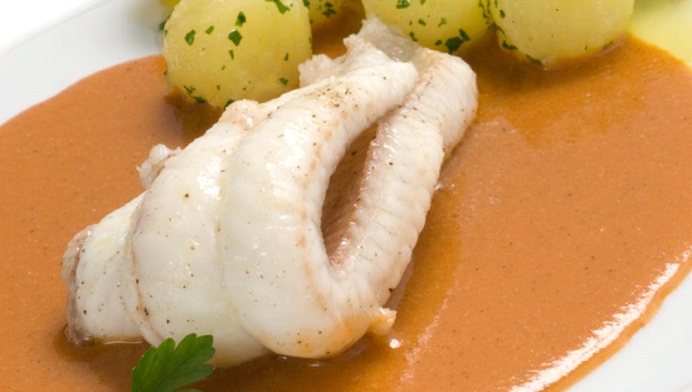 Lenguado con salsa de nécoras
