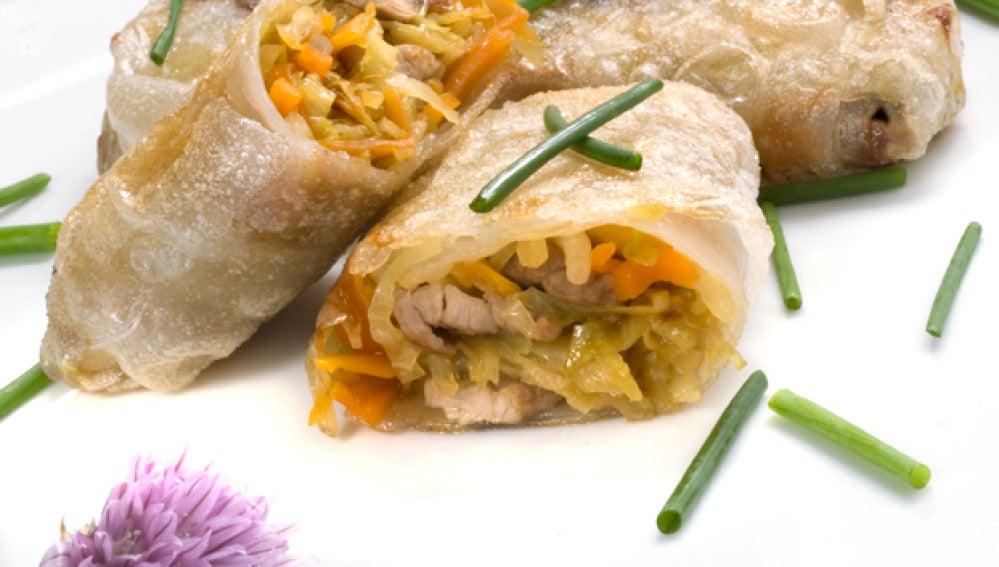 Rollitos de verdura, soja y ternera