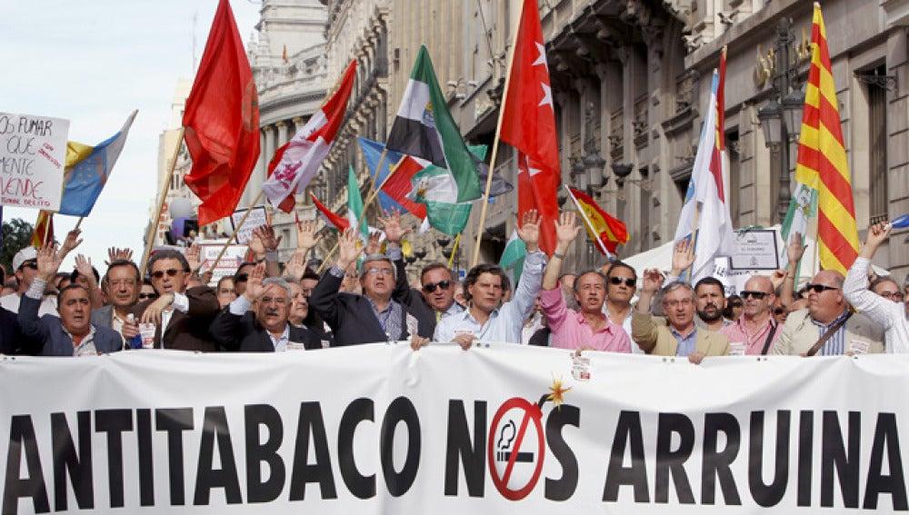 manifestación de hosteleros contra la Ley Antitabaco