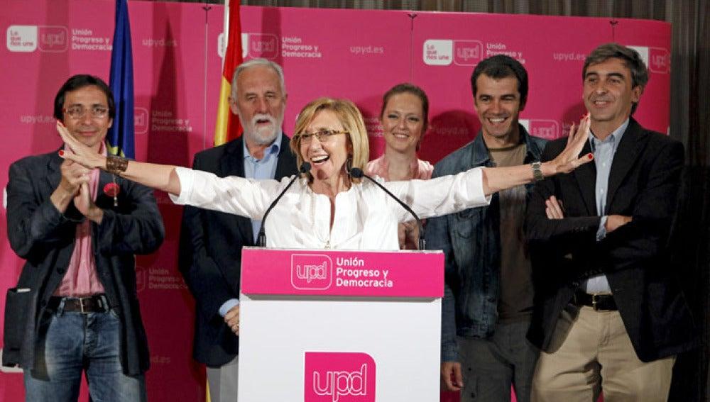 La líder de UPyD, Rosa Díez, tras conocer los resultados electorales.