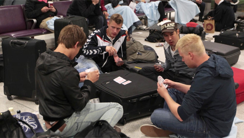 Pasajeros bloqueados en un aeropuerto