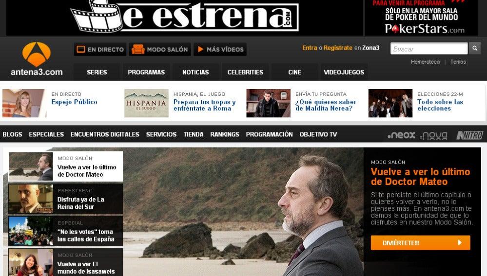 Portada de www.antena3.com