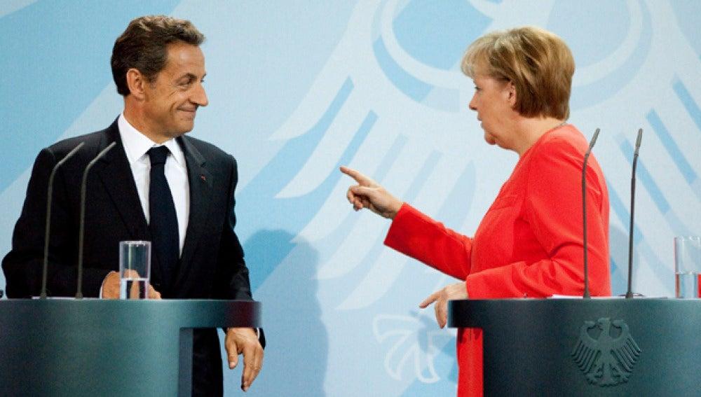 Merkel y Sarkozy en una comparecencia pública anterior.