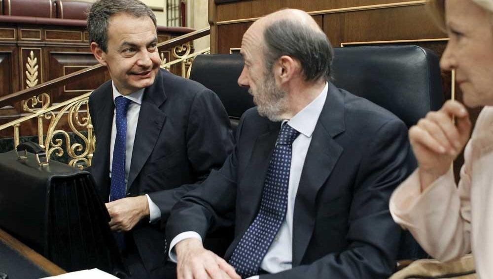 Zapatero y Rubalcaba en el Congreso
