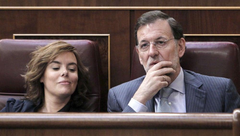 Mariano Rajoy y Soraya Sáenz de Santamaría, en el Congreso