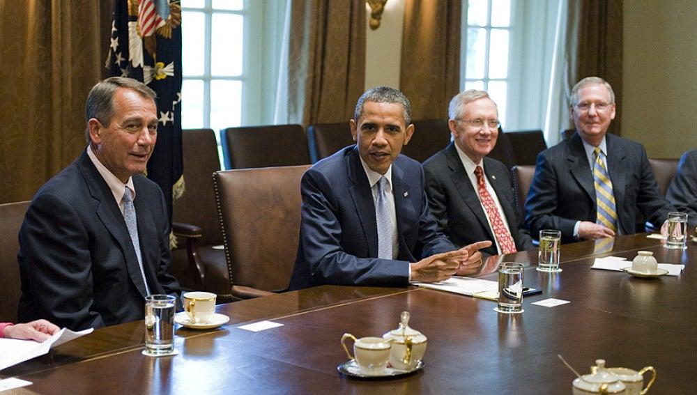 Obama durante las negociaciones