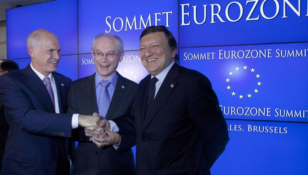 Papandréu, Van Rompuy y Durao Barroso