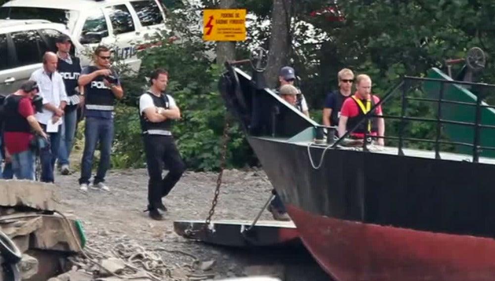 Breivik en la isla de Utoya