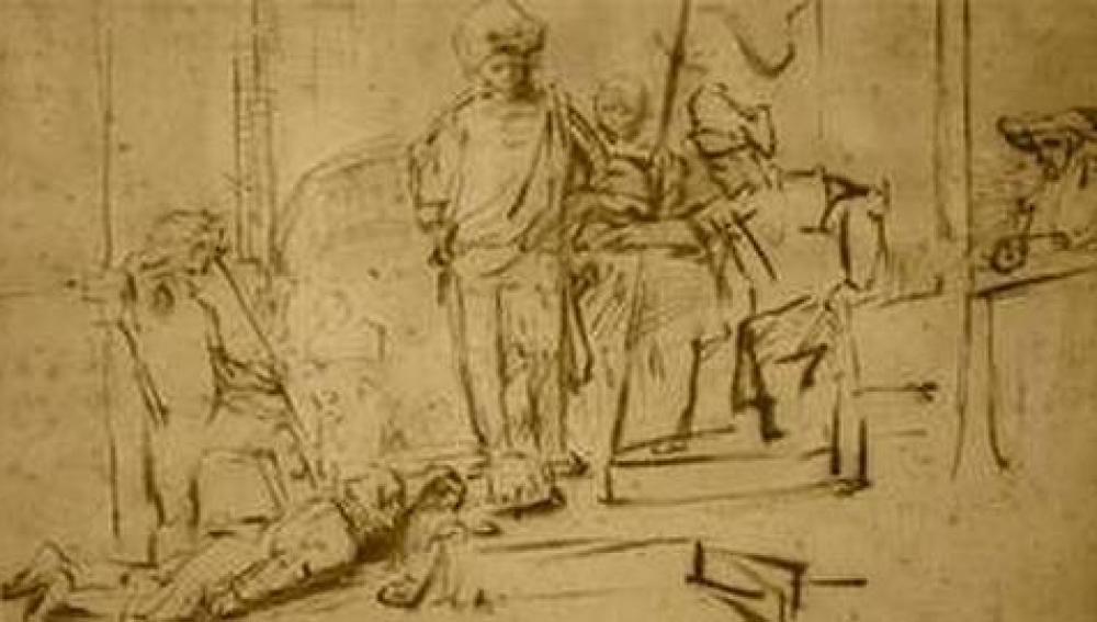 Dibujo 'El juicio', de Rembrandt