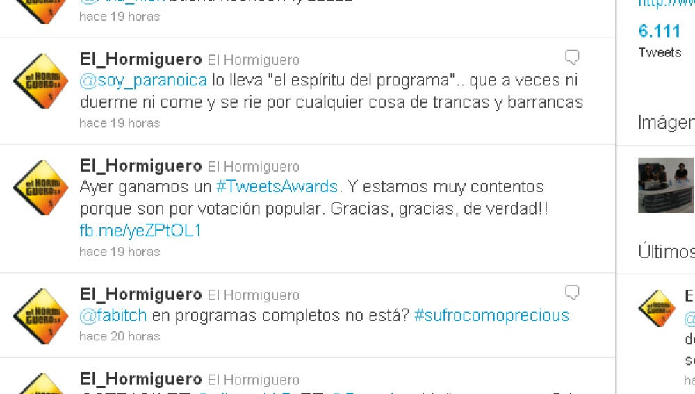 Ganadores de un Tweets Awards