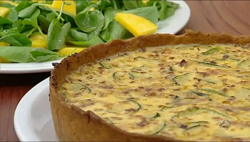 Quiché de calabacón y bacon