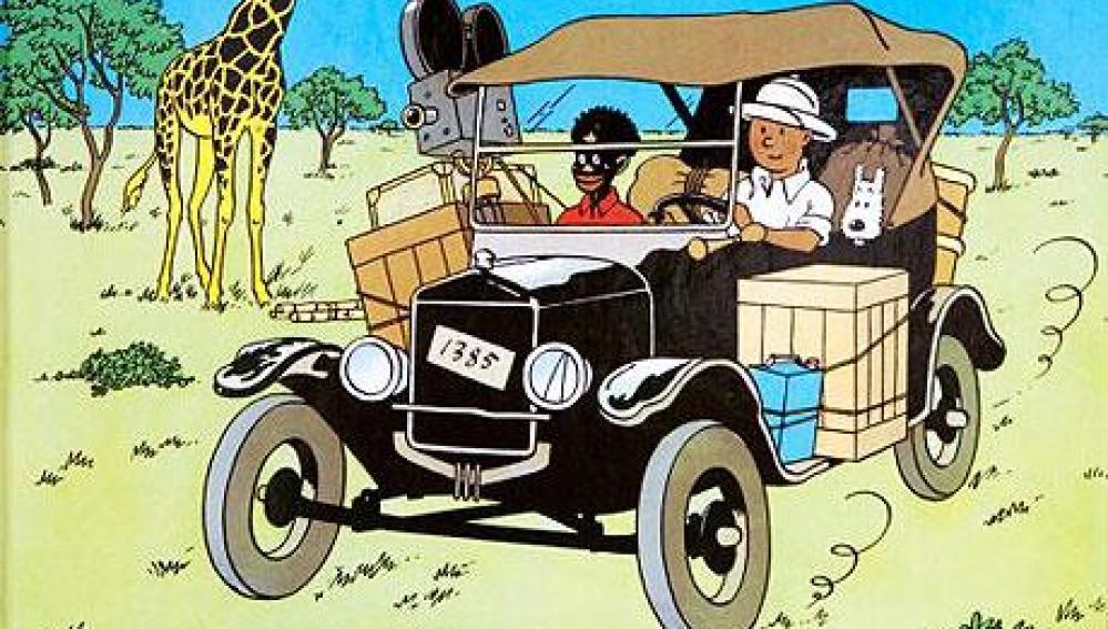 Ilustración de la portada de 'Tintín en el Congo'