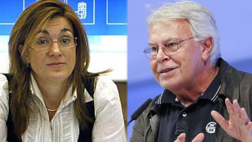Soraya Rodríguez y Felipe González