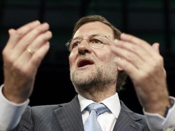 El presidente nacional del PP, Mariano Rajoy, tras su intervención en la clausura de la Convención Nacional