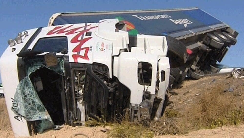 Accidente de camión en Huesca