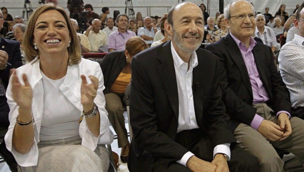 Rubalcaba y el equipo del PSOE