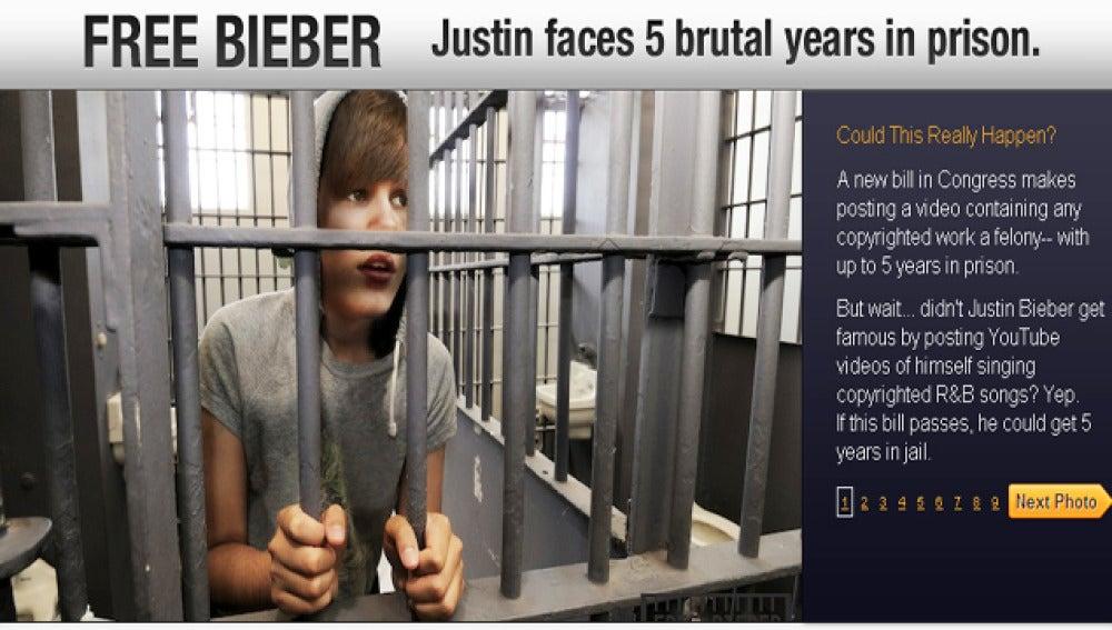 Imagen de la web dedicada a parar la renovación de la ley para que Bieber no vaya a la cárcel.