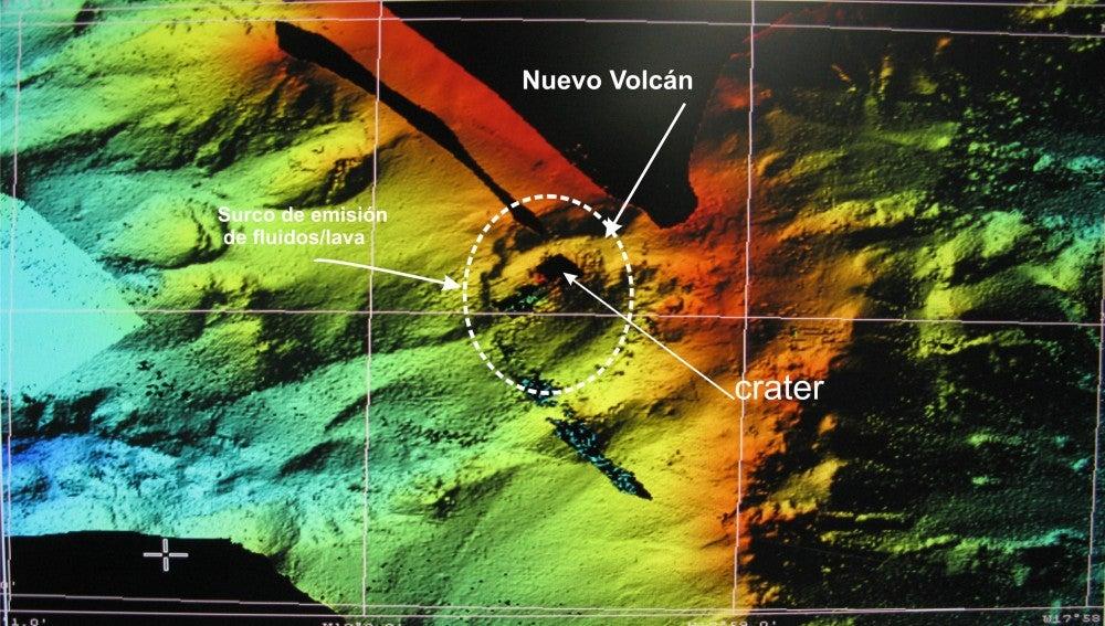 Cartografía del volcán submarino