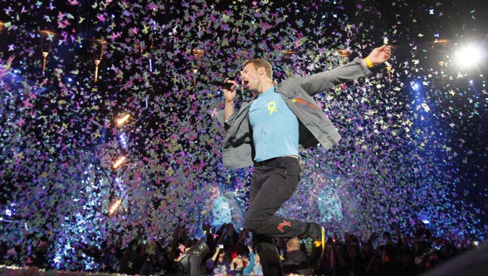 Chris Martin durante el concierto de Las Ventas