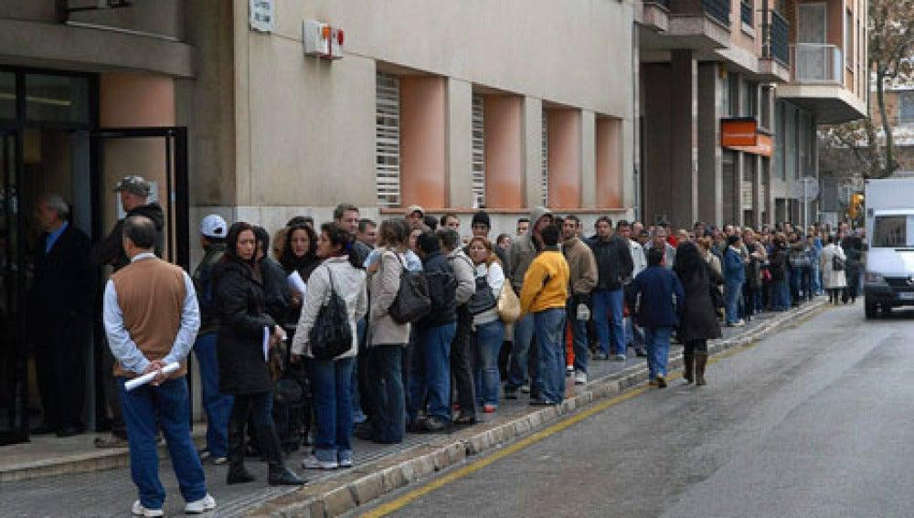 Personas en paro hacen cola a las puertas del Servicio de Ocupación de las Illes Balears