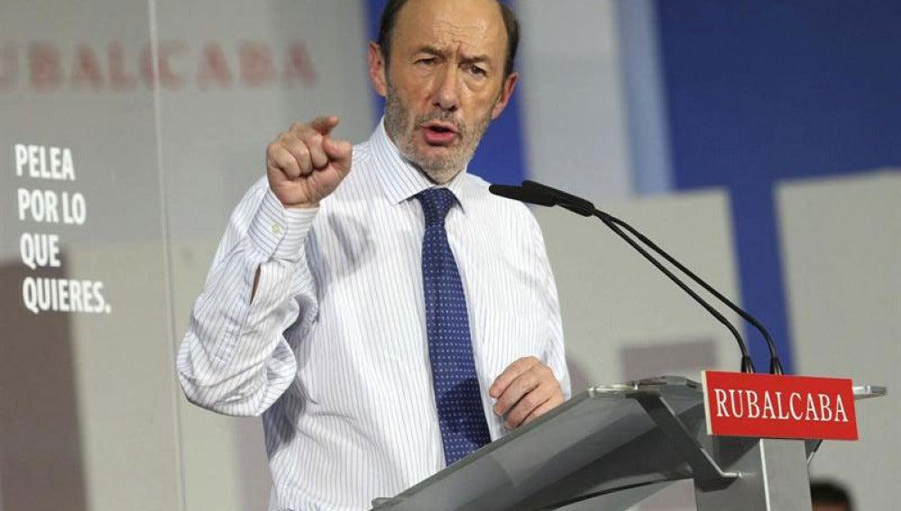 Alfredo Pérez Rubalcaba, en un mitin