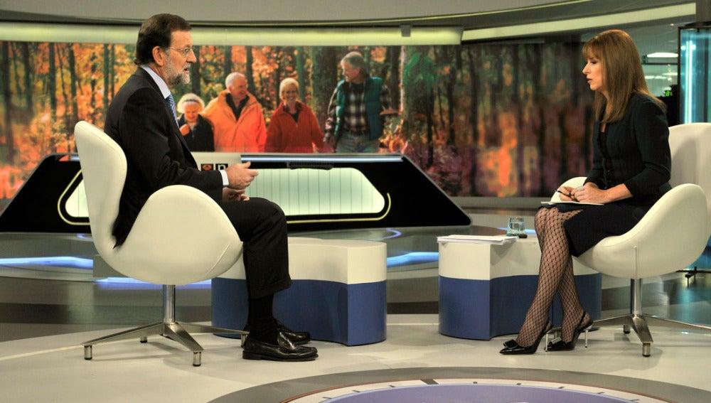 Momento de la entrevista a Mariano Rajoy